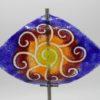 Gartenstele Glasstele Segel Sonne blau rot 1