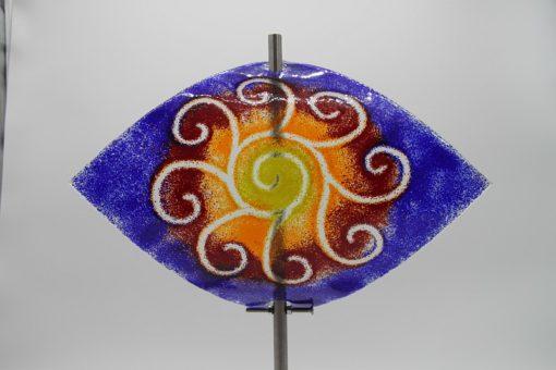 Gartenstele Glasstele Segel Sonne blau rot 3