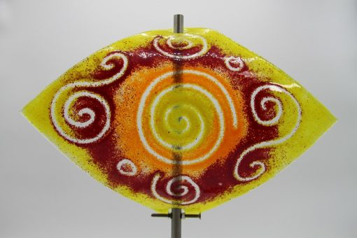 Gartenstele Glasstele Segel Sonne gelb rot 2
