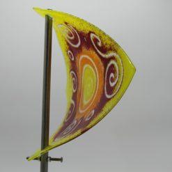 Gartenstele Glasstele Segel Sonne gelb rot 3