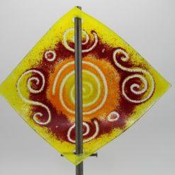 Gartenstele Glasstele Segel Sonne Gelb Rot Glaskunstbrecherde