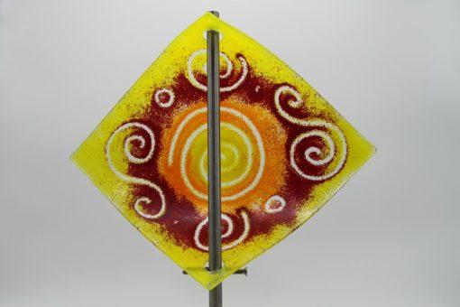Gartenstele Glasstele Segel Sonne gelb rot 4