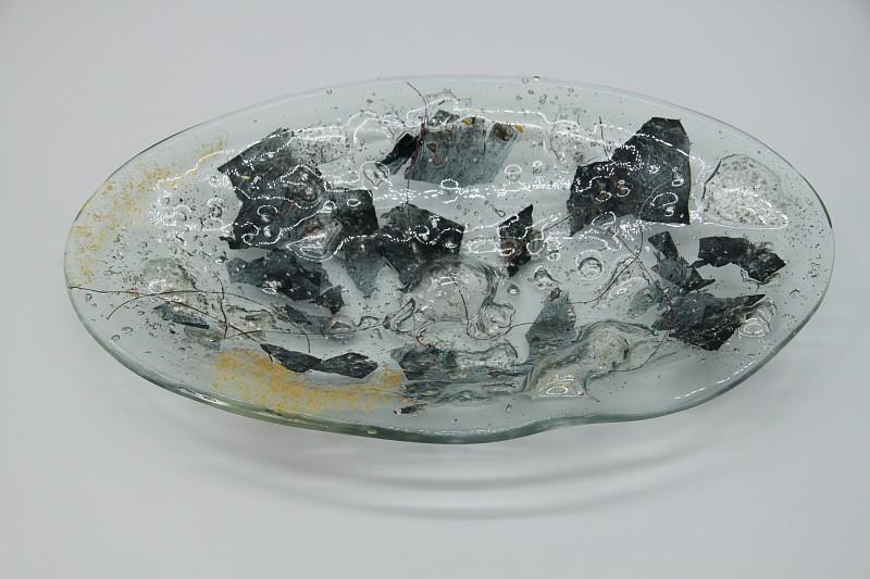 Glasschale Oval Metall gold-silber 2