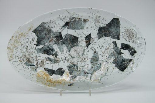Glasschale Oval Metall gold-silber 3