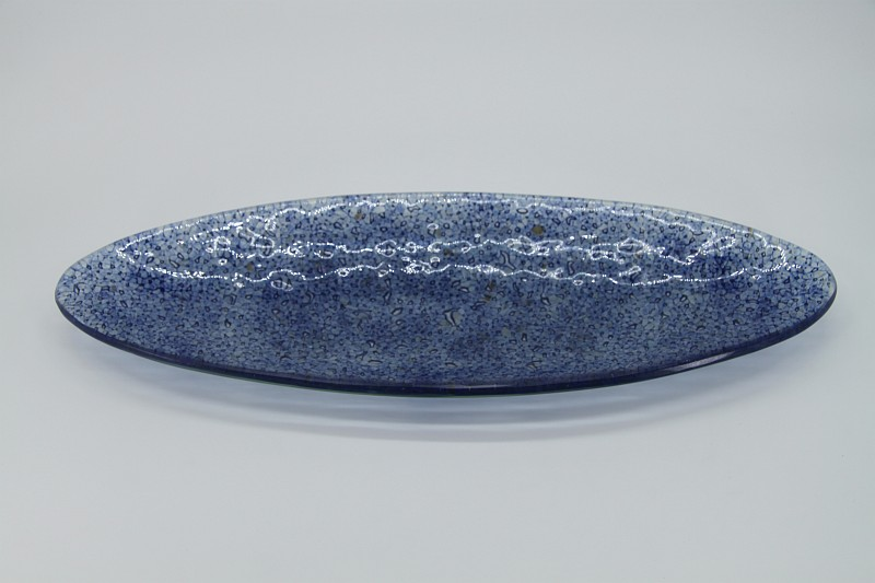 Glasschale Oval Ozean blau 2