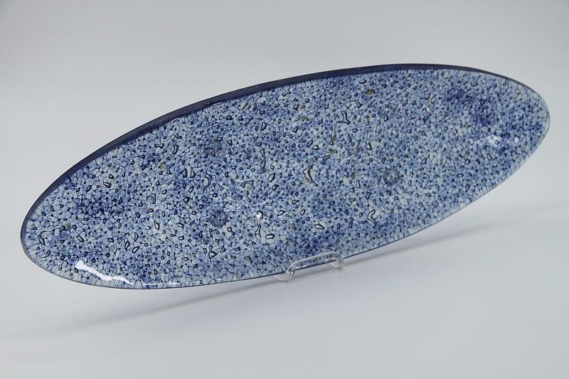 Glasschale Oval Ozean blau 5