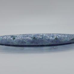 Glasschale Oval Ozean blau Metall 2