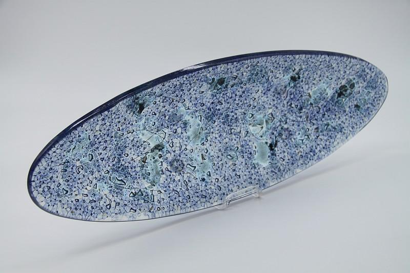 Glasschale Oval Ozean blau Metall 4