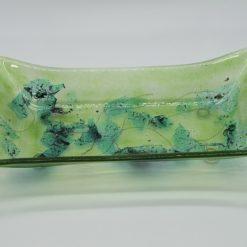 Glasschale gelbes Gras Metall grün 1