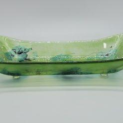 Glasschale gelbes Gras Metall grün 2