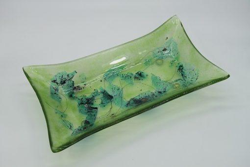 Glasschale gelbes Gras Metall grün 4