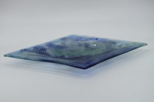 Glasschale Raute Metall Ocean-blau 1
