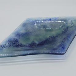 Glasschale Raute Metall Ocean-blau 3
