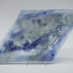Glasschale Raute Metall Ocean-blau 4