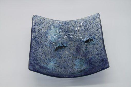 Glasschale eckig Metall Ocean blau 1