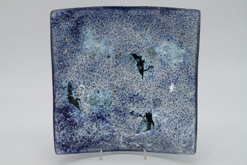 Glasschale eckig Metall Ocean blau 4