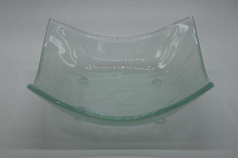 Glasschale eckig Lufteinschlüsse Matt 1