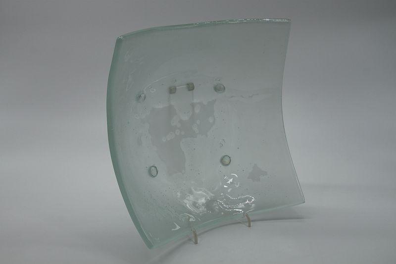 Glasschale eckig Lufteinschlüsse Matt 5