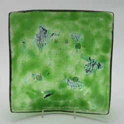 Glasschale eckig Metall chromgrün 1