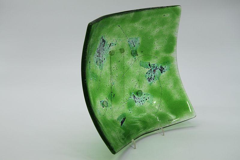 Glasschale eckig Metall chromgrün 2