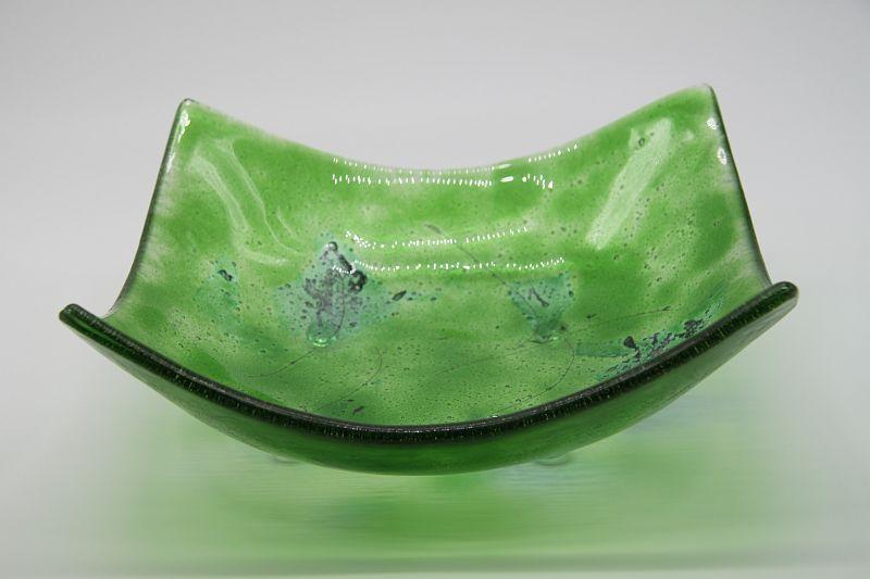 Glasschale eckig Metall chromgrün 4