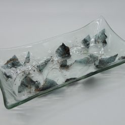 Glasschale gelbes Gras Metall 2
