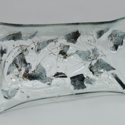 Glasschale gelbes Gras Metall 4