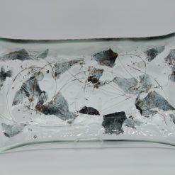 Glasschale gelbes Gras Metall 5