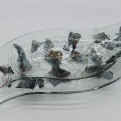 Glasschale Niere Metall 2