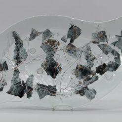 Glasschale Niere Metall 3