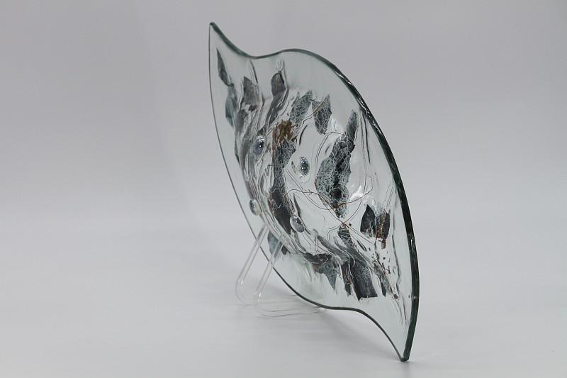 Glasschale Niere Metall 4