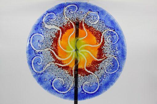 Gartenstele Glasstele rund Sonne blau gelb 1