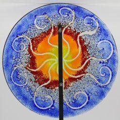 Gartenstele Glasstele rund Sonne blau gelb 2
