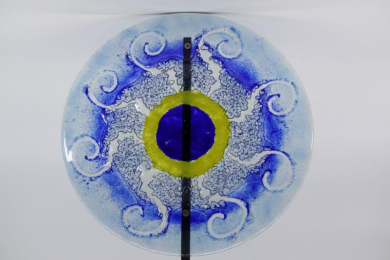 Gartenstele Glasstele rund Sonne blau gelb blau 1