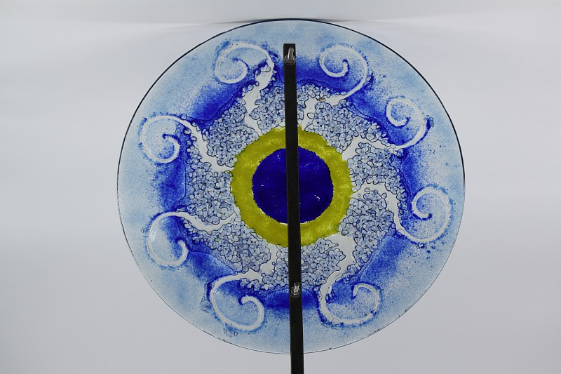 Gartenstele Glasstele rund Sonne blau gelb blau 3