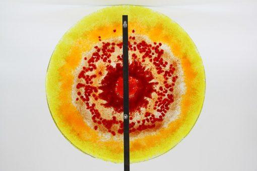Gartenstele Glasstele rund Sonne gelb rot 4