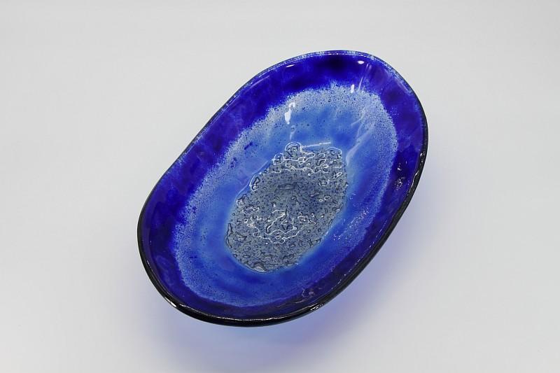 Glasschale Oval blau 1