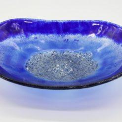 Glasschale Oval blau 2