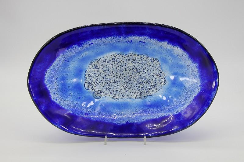 Glasschale Oval blau 5