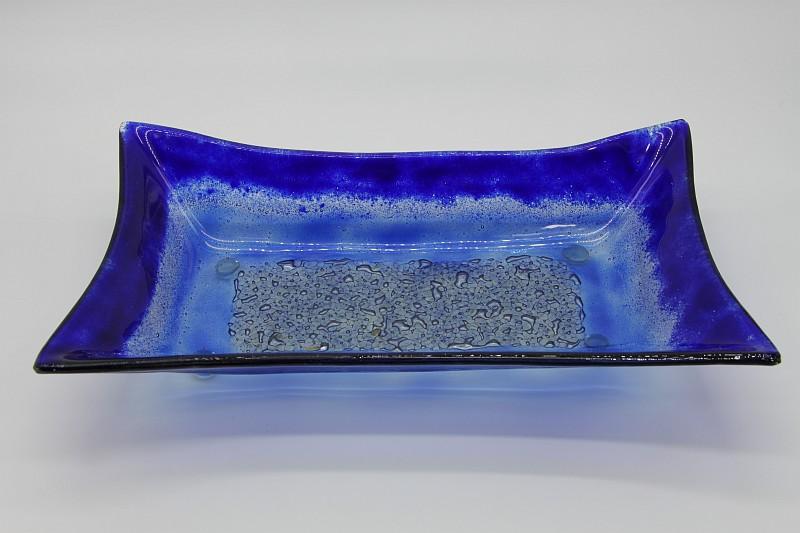 Glasschale gelbes Gras blau 1