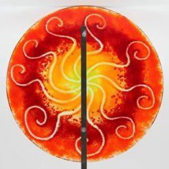 Gartenstele Glasstele rund Sonne rot gelb 2