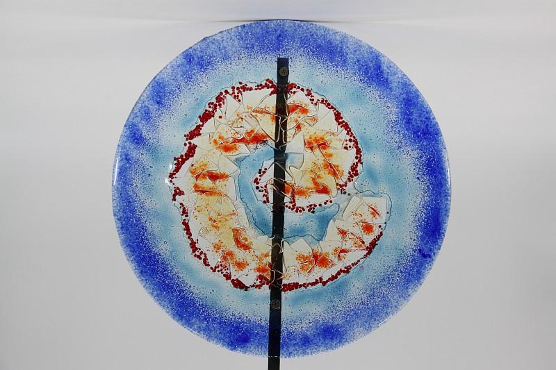 Gartenstele Glasstele rund Muschel blau 1