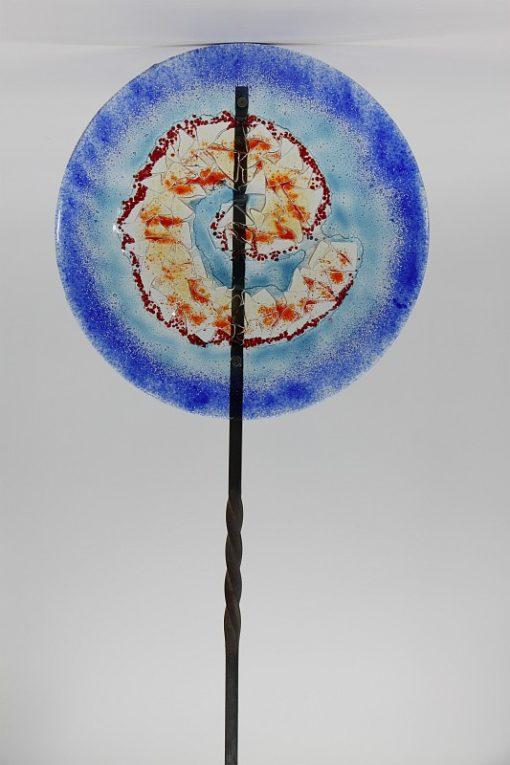 Gartenstele Glasstele rund Muschel blau 2