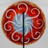 Gartenstele Glasstele rund Sonne rot blau 1