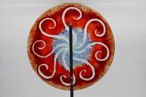 Gartenstele Glasstele rund Sonne rot blau 4