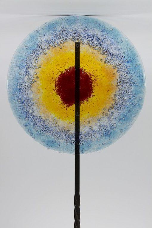 Gartenstele Glasstele rund blau gelb rot 1