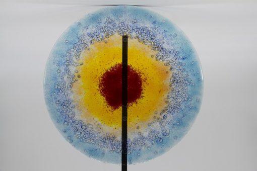 Gartenstele Glasstele rund blau gelb rot 2