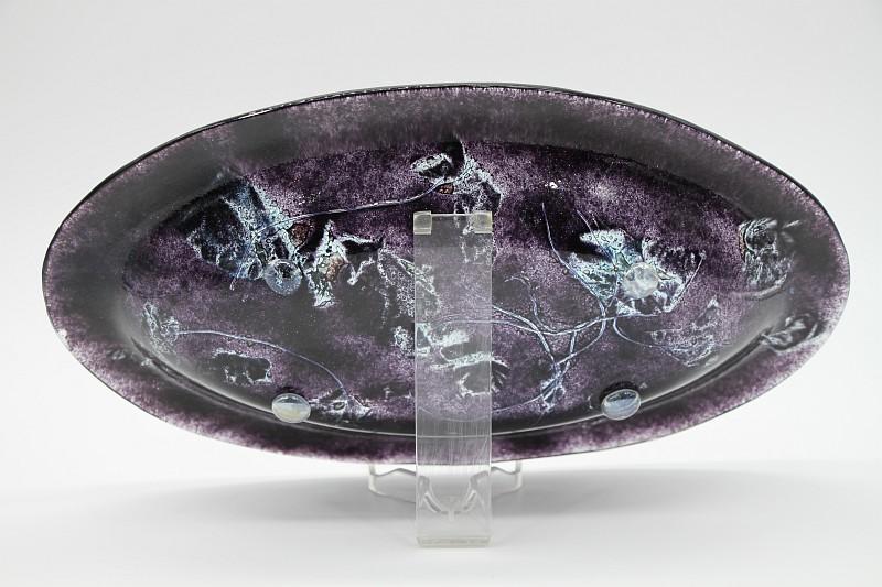 Glasschale Oval schwarz Metall 5